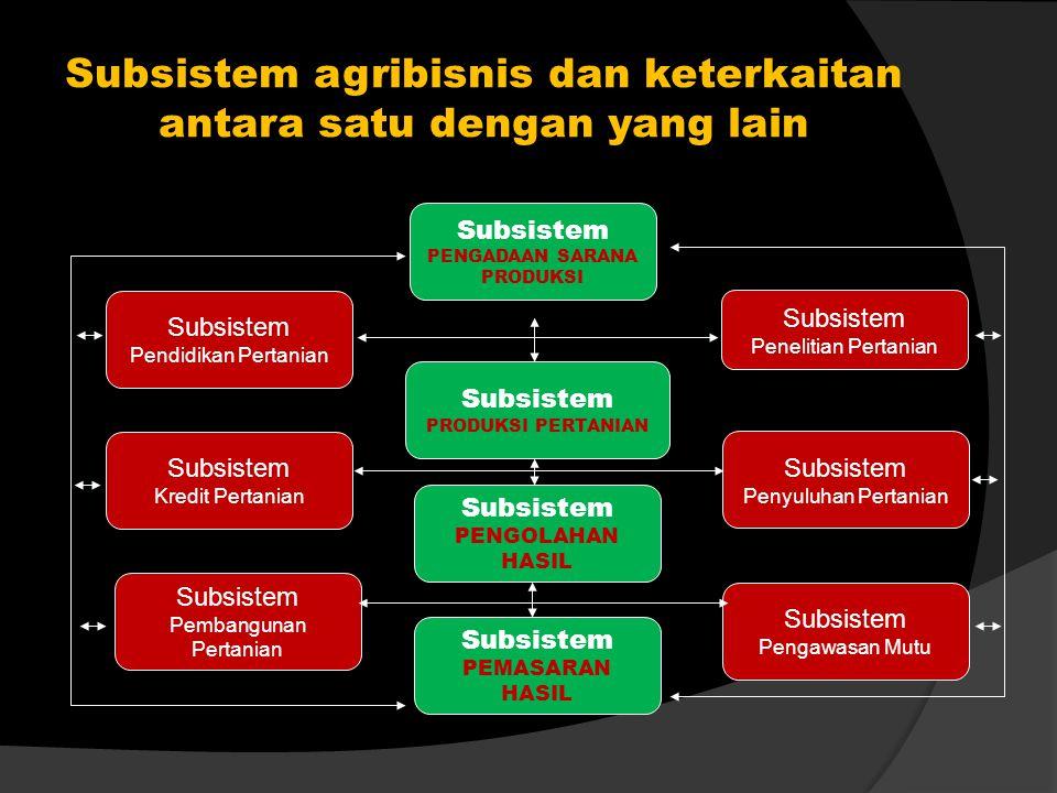 Subsistem agribisnis dan keterkaitan antara satu dengan yang lain