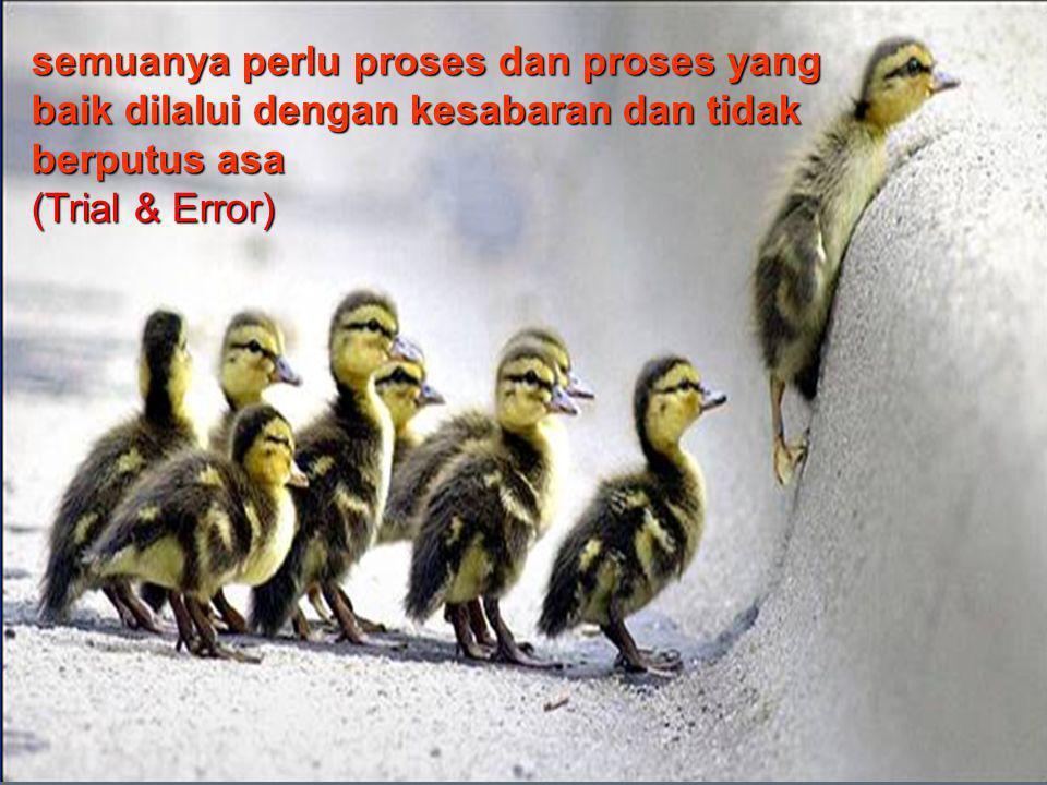 semuanya perlu proses dan proses yang baik dilalui dengan kesabaran dan tidak berputus asa (Trial & Error)