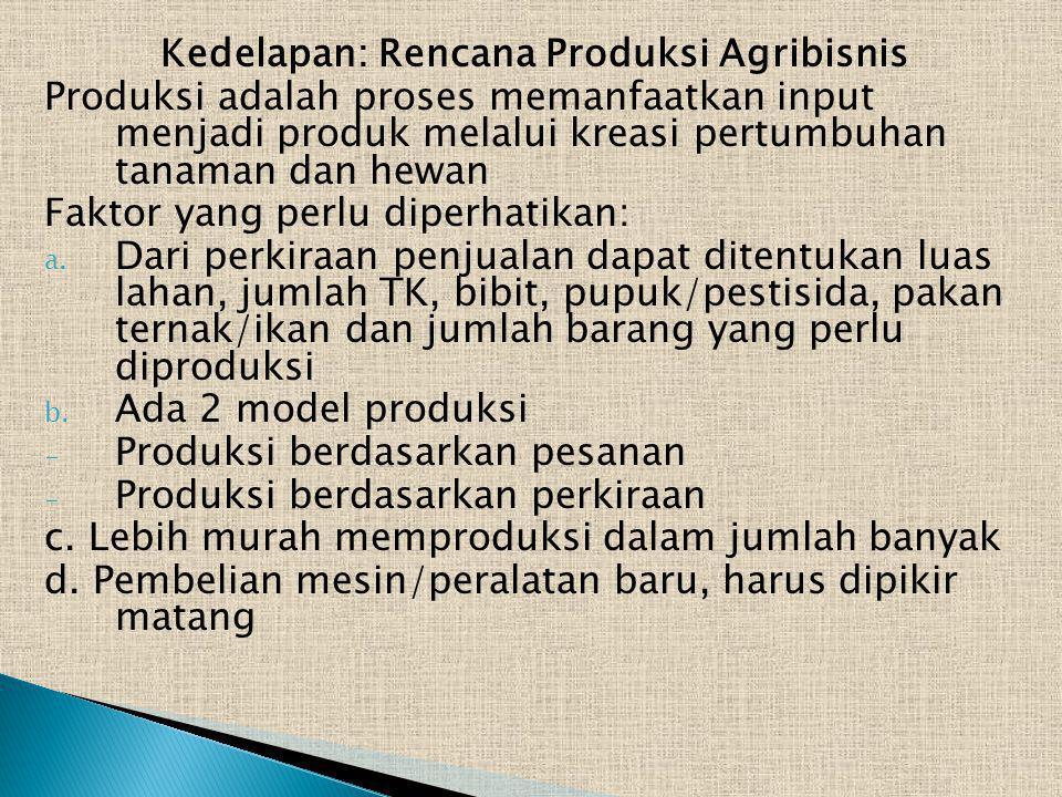 Kedelapan: Rencana Produksi Agribisnis