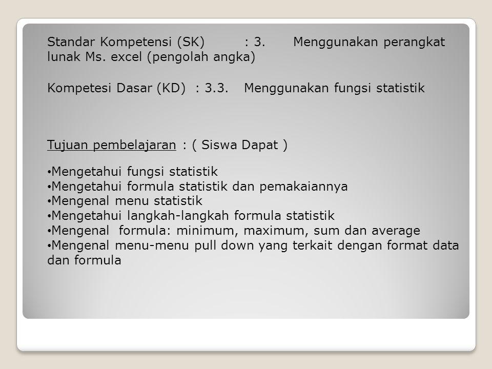 Standar Kompetensi (SK). : 3. Menggunakan perangkat lunak Ms