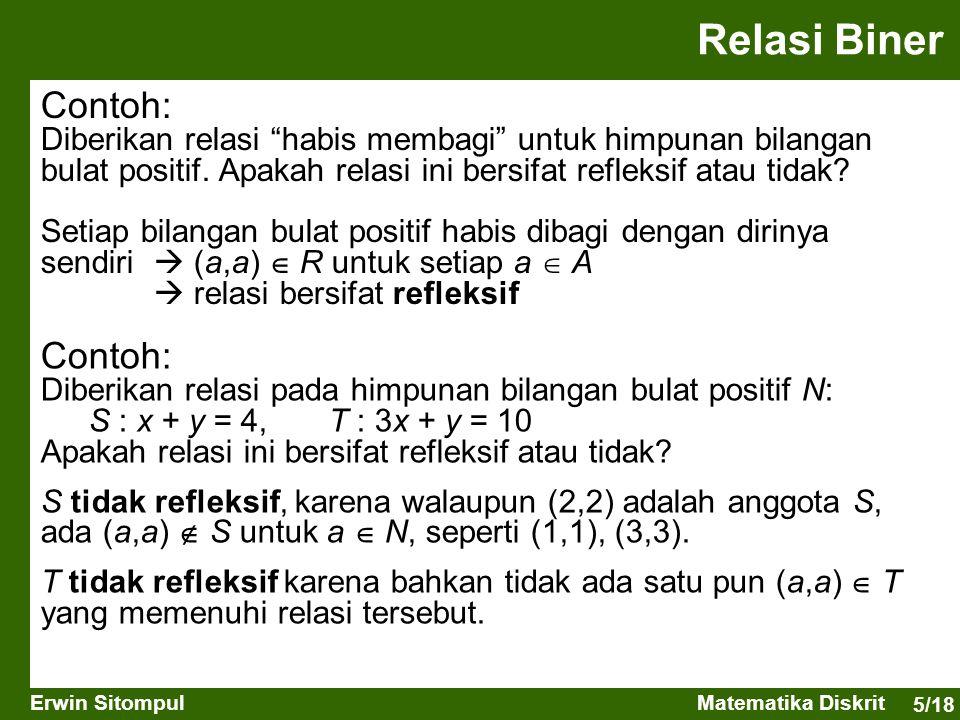 Relasi Biner Contoh: Contoh: