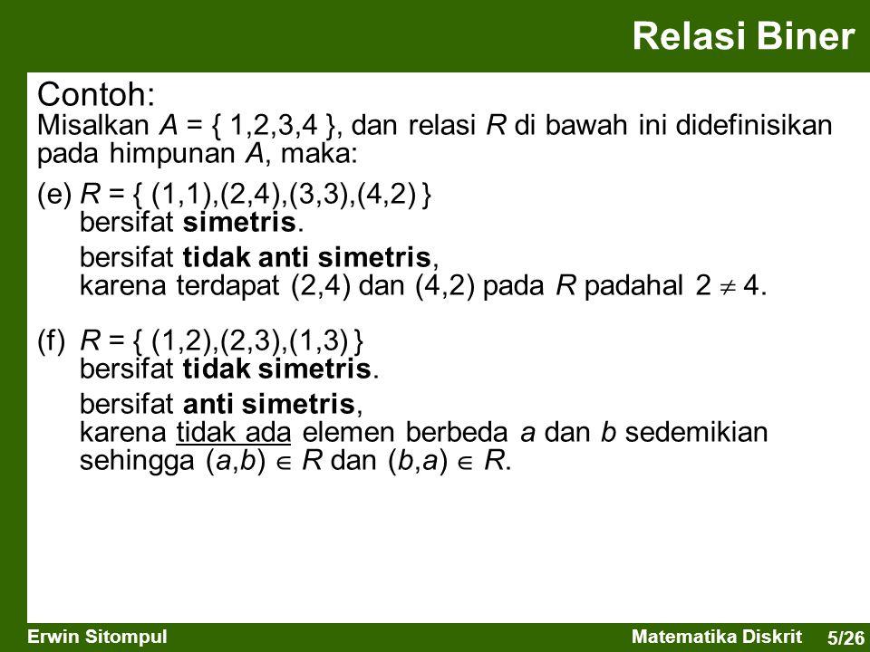 Relasi Biner Contoh: Misalkan A = { 1,2,3,4 }, dan relasi R di bawah ini didefinisikan pada himpunan A, maka: