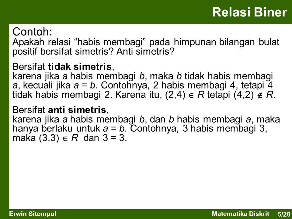 Relasi Biner Contoh: Apakah relasi habis membagi pada himpunan bilangan bulat positif bersifat simetris Anti simetris