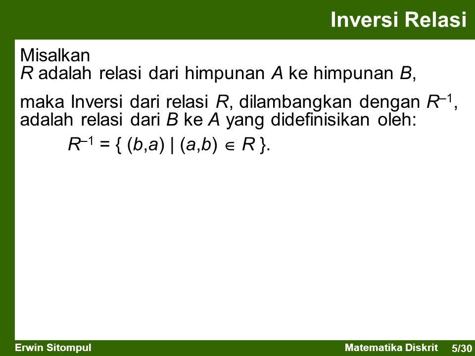 Inversi Relasi Misalkan R adalah relasi dari himpunan A ke himpunan B,