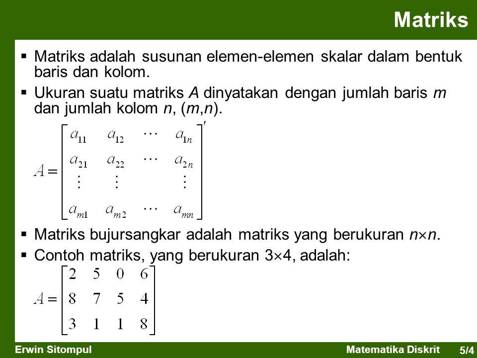 Matriks Matriks adalah susunan elemen-elemen skalar dalam bentuk baris dan kolom.