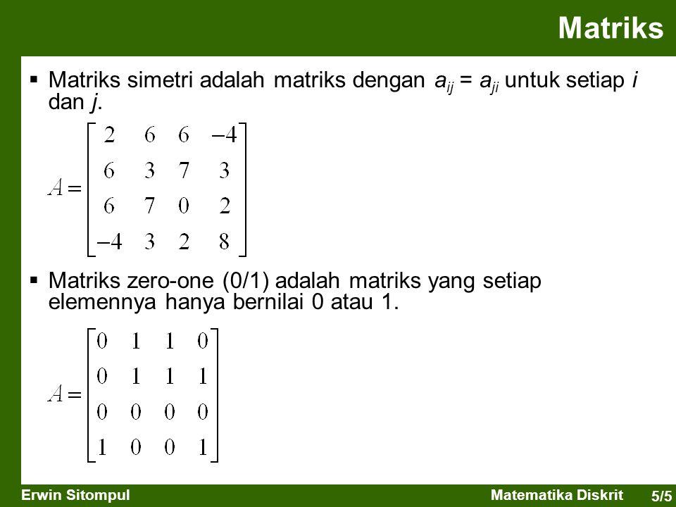Matriks Matriks simetri adalah matriks dengan aij = aji untuk setiap i dan j.