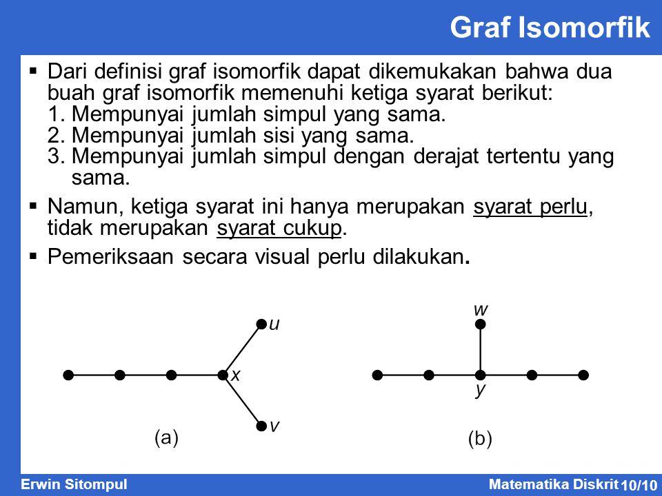 Graf Isomorfik Dari definisi graf isomorfik dapat dikemukakan bahwa dua buah graf isomorfik memenuhi ketiga syarat berikut: