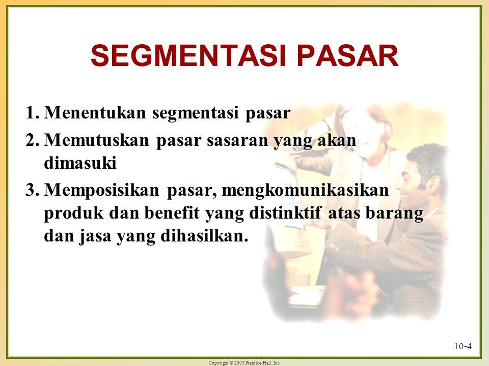SEGMENTASI PASAR 1. Menentukan segmentasi pasar
