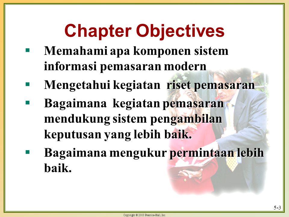 Chapter Objectives Memahami apa komponen sistem informasi pemasaran modern. Mengetahui kegiatan riset pemasaran.