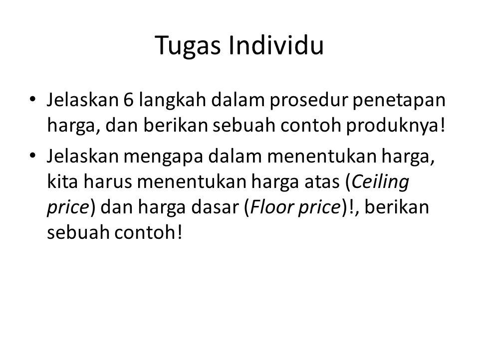 Tugas Individu Jelaskan 6 langkah dalam prosedur penetapan harga, dan berikan sebuah contoh produknya!