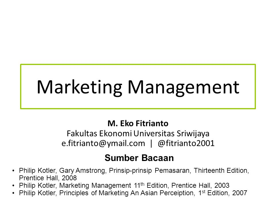Marketing Management M. Eko Fitrianto