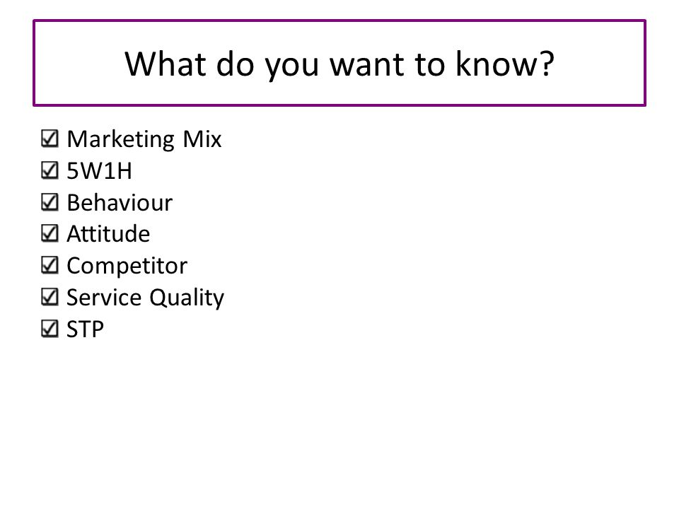 What do you want to know Marketing Mix 5W1H Behaviour Attitude
