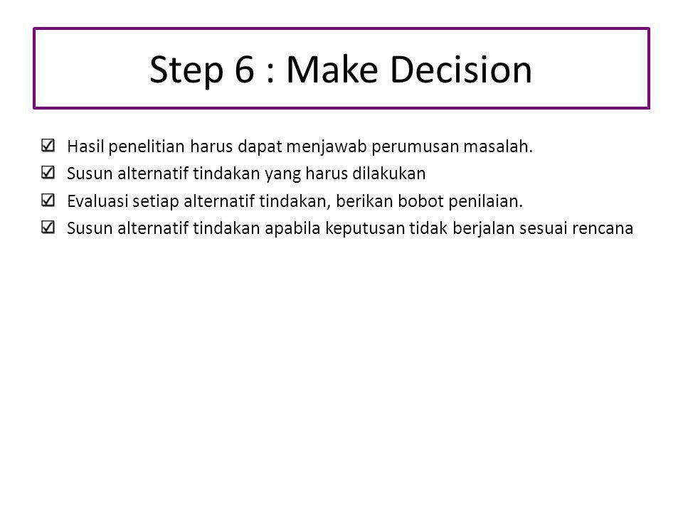 Step 6 : Make Decision Hasil penelitian harus dapat menjawab perumusan masalah. Susun alternatif tindakan yang harus dilakukan.