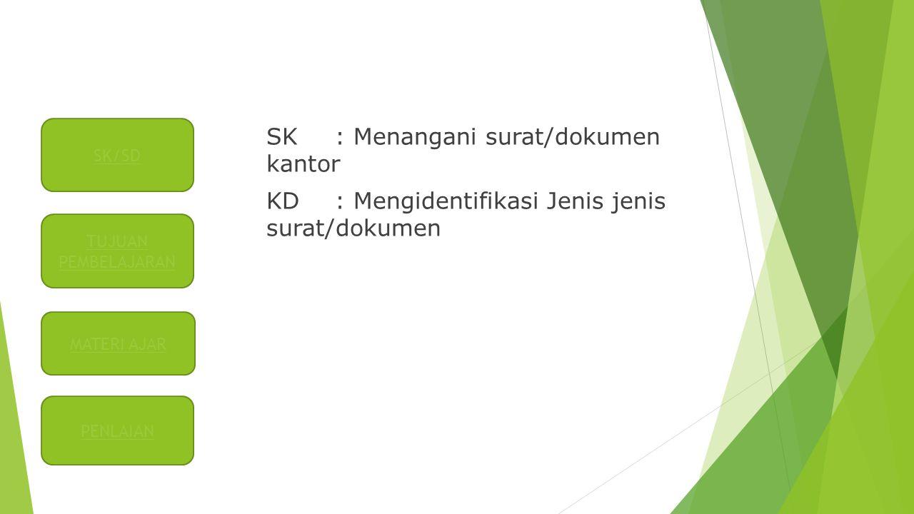 SK/SD SK : Menangani surat/dokumen kantor KD : Mengidentifikasi Jenis jenis surat/dokumen TUJUAN PEMBELAJARAN.