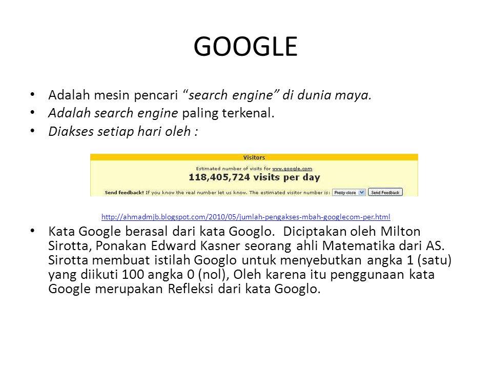 GOOGLE Adalah mesin pencari search engine di dunia maya.