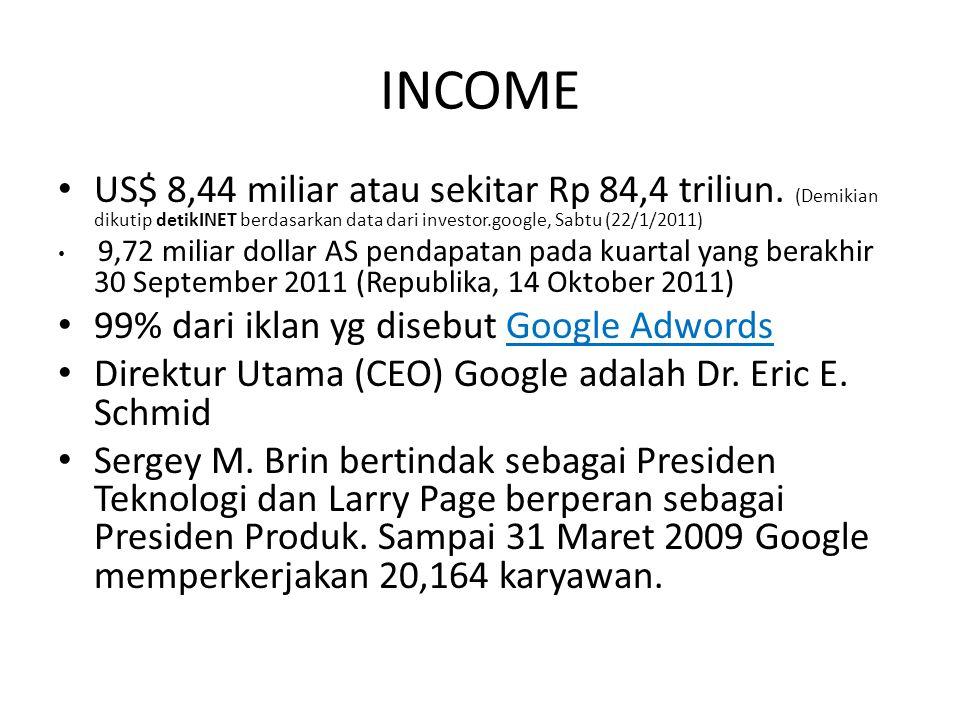 INCOME US$ 8,44 miliar atau sekitar Rp 84,4 triliun. (Demikian dikutip detikINET berdasarkan data dari investor.google, Sabtu (22/1/2011)