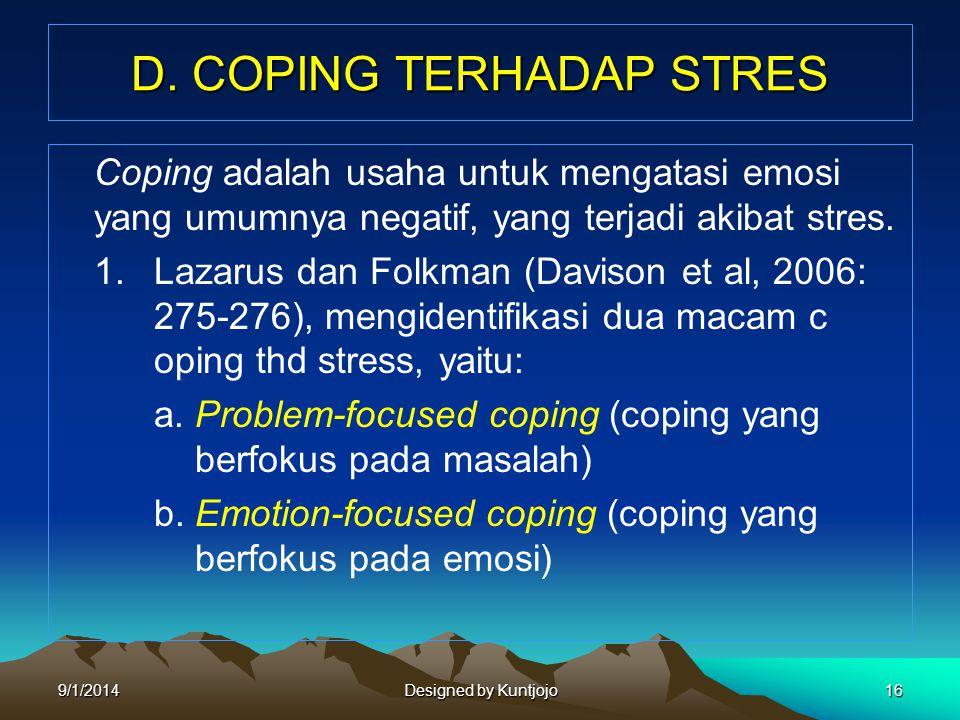 D. COPING TERHADAP STRES