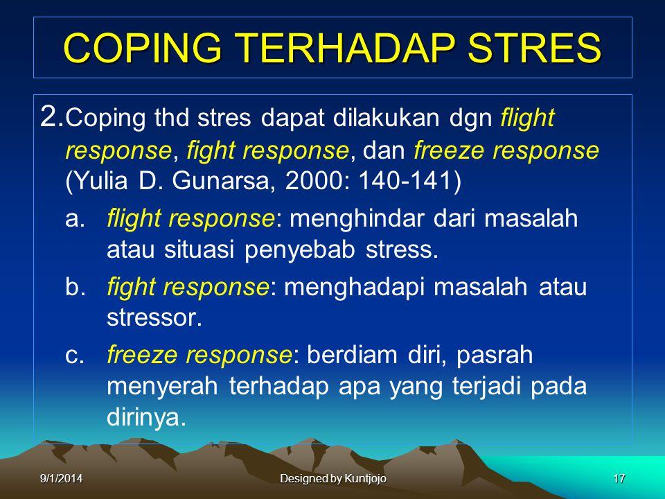 COPING TERHADAP STRES 2. Coping thd stres dapat dilakukan dgn flight response, fight response, dan freeze response (Yulia D. Gunarsa, 2000: 140-141)