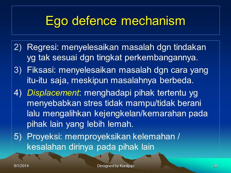 Ego defence mechanism Regresi: menyelesaikan masalah dgn tindakan yg tak sesuai dgn tingkat perkembangannya.