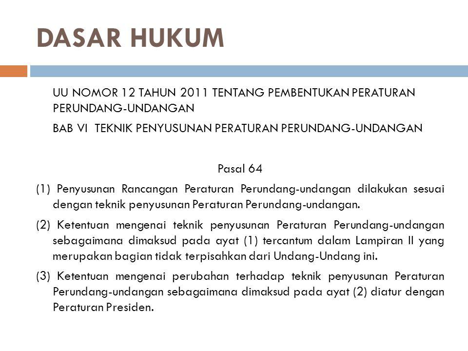 DASAR HUKUM UU NOMOR 12 TAHUN 2011 TENTANG PEMBENTUKAN PERATURAN PERUNDANG-UNDANGAN. BAB VI TEKNIK PENYUSUNAN PERATURAN PERUNDANG-UNDANGAN.