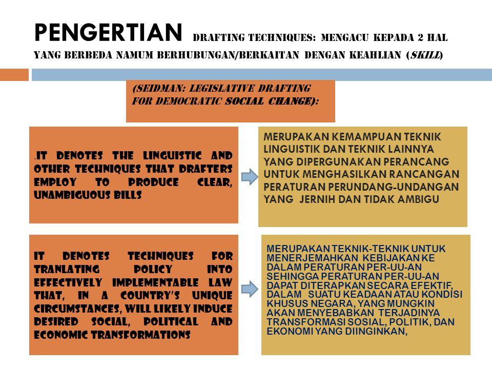 PENGERTIAN DRAFTING TECHNIQUES: MENGACU KEPADA 2 HAL YANG BERBEDA NAMUM BERHUBUNGAN/BERKAITAN DENGAN KEAHLIAN (SKILL)