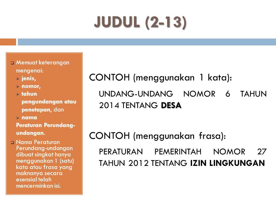 JUDUL (2-13) UNDANG-UNDANG NOMOR 6 TAHUN 2014 TENTANG DESA