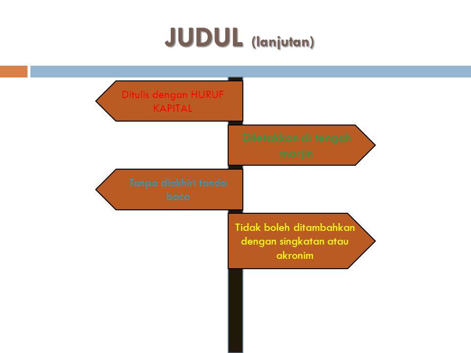 JUDUL (lanjutan) Diletakkan di tengah marjin
