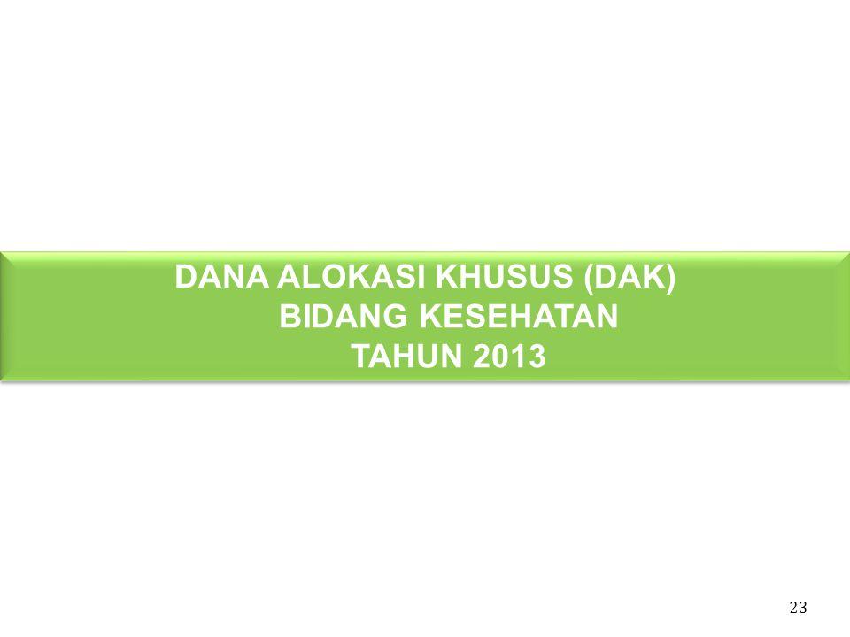 DANA ALOKASI KHUSUS (DAK) BIDANG KESEHATAN TAHUN 2013