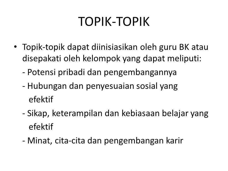 TOPIK-TOPIK Topik-topik dapat diinisiasikan oleh guru BK atau disepakati oleh kelompok yang dapat meliputi: