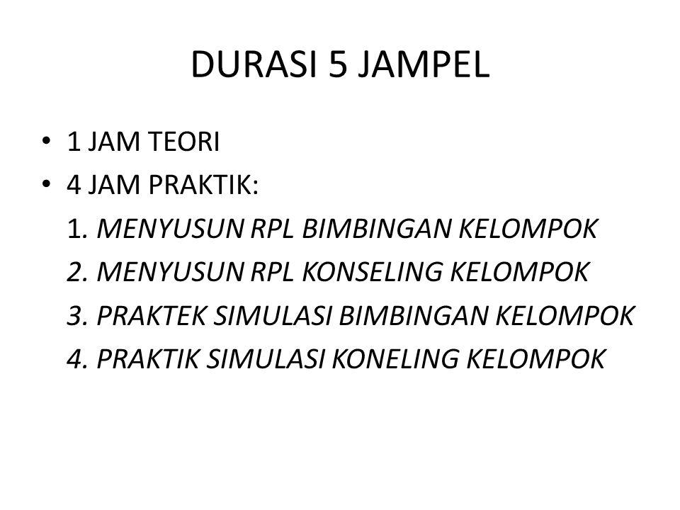 DURASI 5 JAMPEL 1 JAM TEORI 4 JAM PRAKTIK: