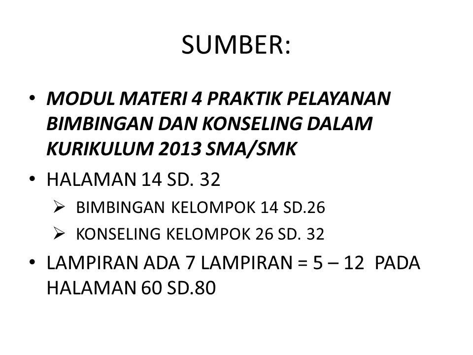 SUMBER: MODUL MATERI 4 PRAKTIK PELAYANAN BIMBINGAN DAN KONSELING DALAM KURIKULUM 2013 SMA/SMK. HALAMAN 14 SD. 32.