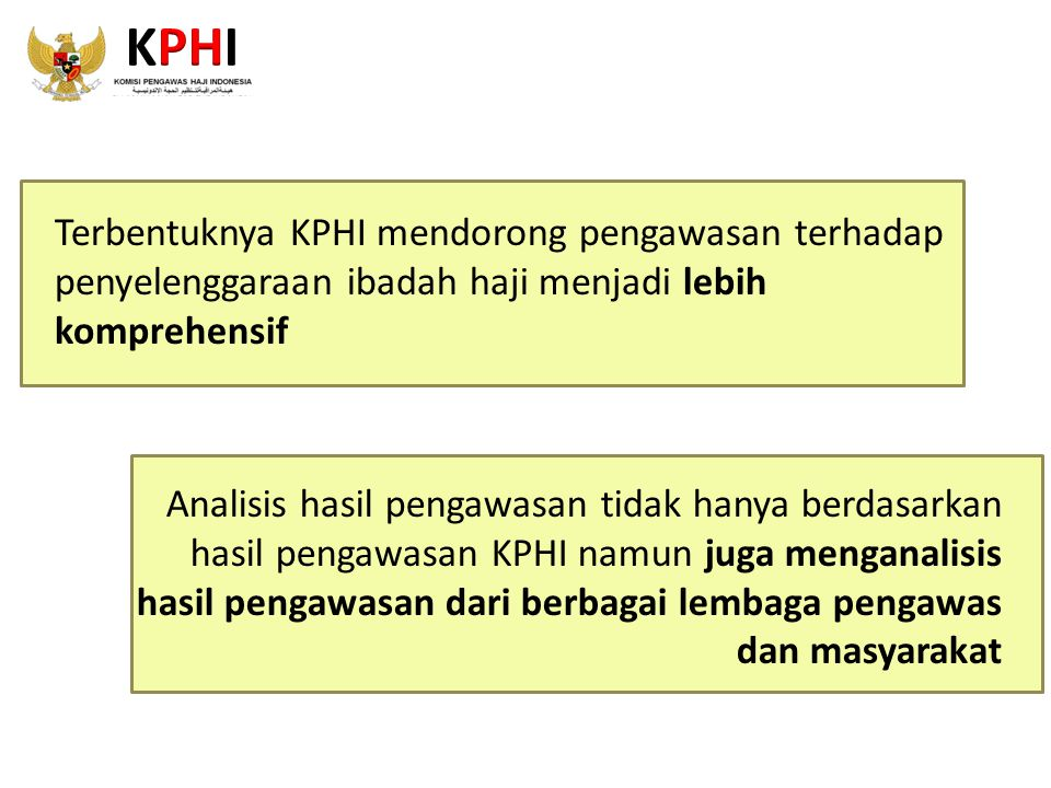 KPHI Terbentuknya KPHI mendorong pengawasan terhadap penyelenggaraan ibadah haji menjadi lebih komprehensif.