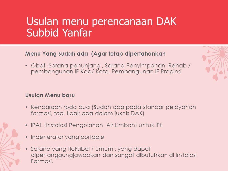 Usulan menu perencanaan DAK Subbid Yanfar