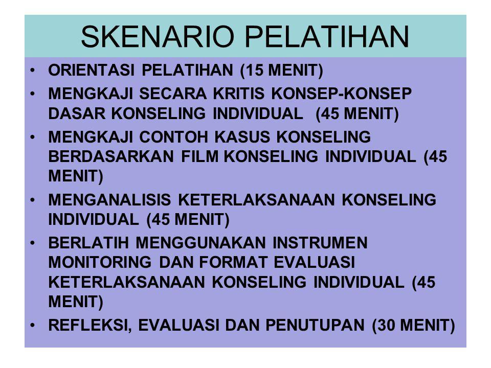 SKENARIO PELATIHAN ORIENTASI PELATIHAN (15 MENIT)