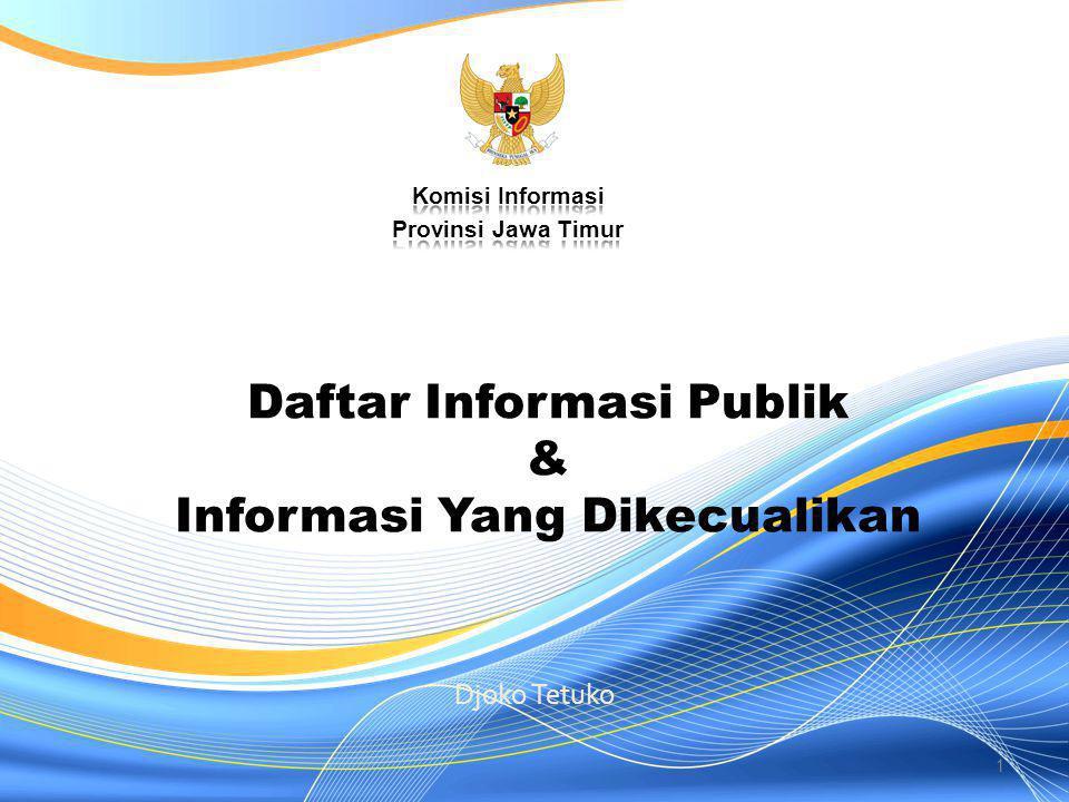 Daftar Informasi Publik & Informasi Yang Dikecualikan