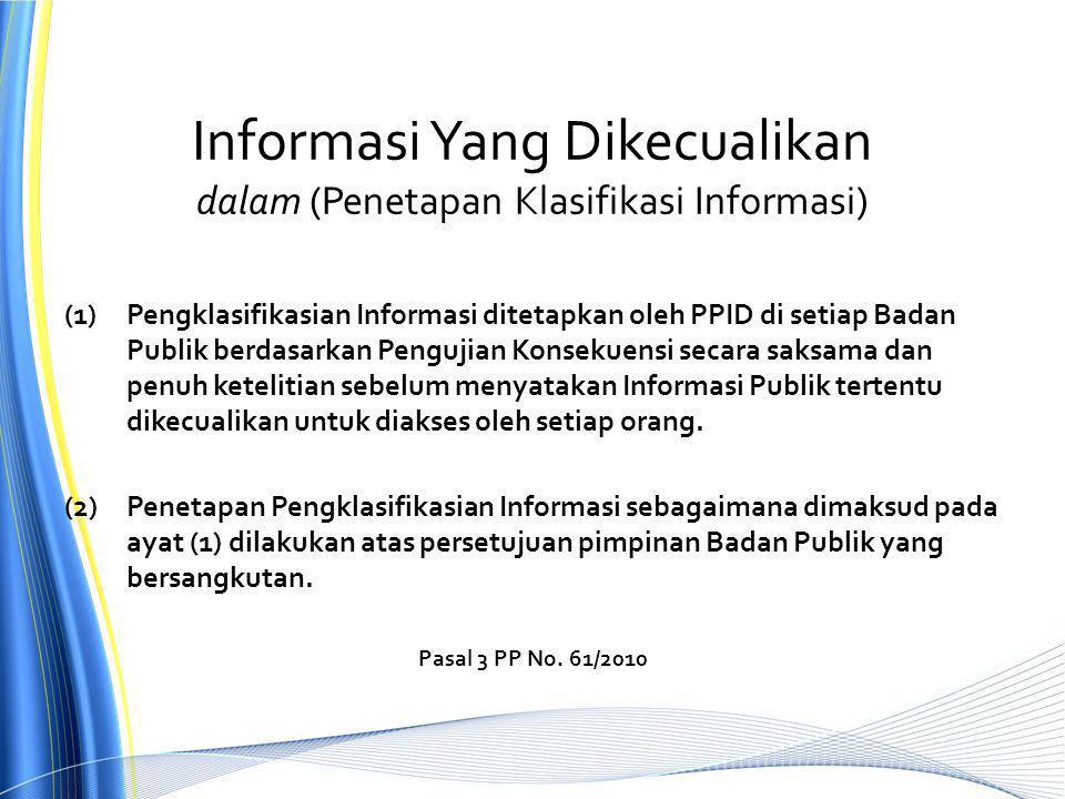 Informasi Yang Dikecualikan dalam (Penetapan Klasifikasi Informasi)