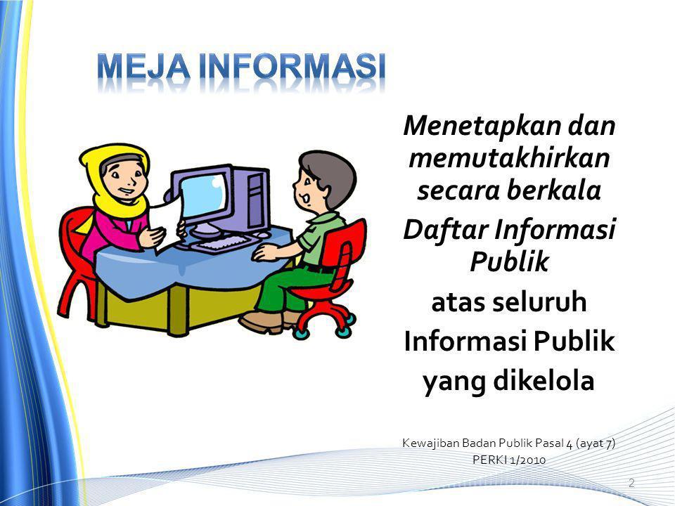 Menetapkan dan memutakhirkan secara berkala Daftar Informasi Publik