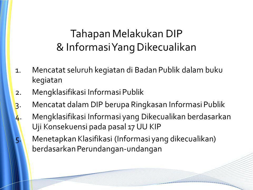 Tahapan Melakukan DIP & Informasi Yang Dikecualikan