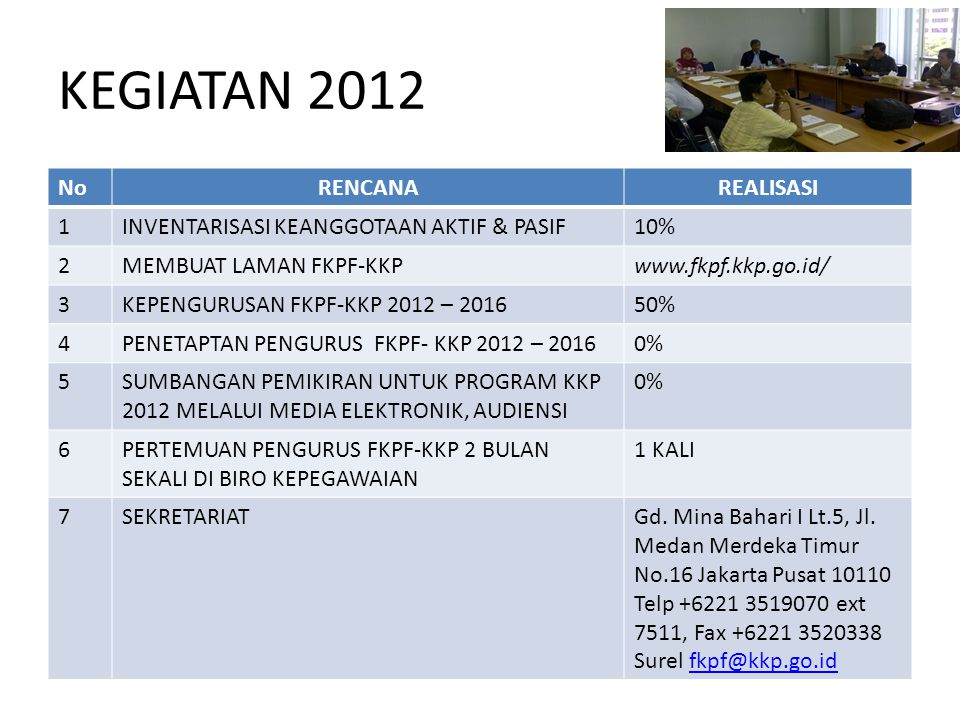 KEGIATAN 2012 No RENCANA REALISASI 1
