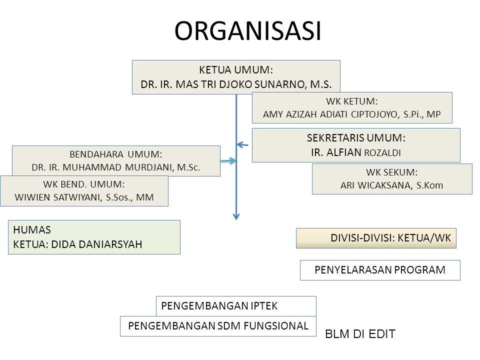 ORGANISASI KETUA UMUM: DR. IR. MAS TRI DJOKO SUNARNO, M.S.