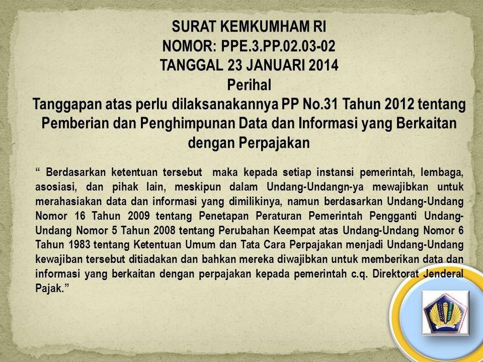 SURAT KEMKUMHAM RI NOMOR: PPE.3.PP.02.03-02 TANGGAL 23 JANUARI 2014