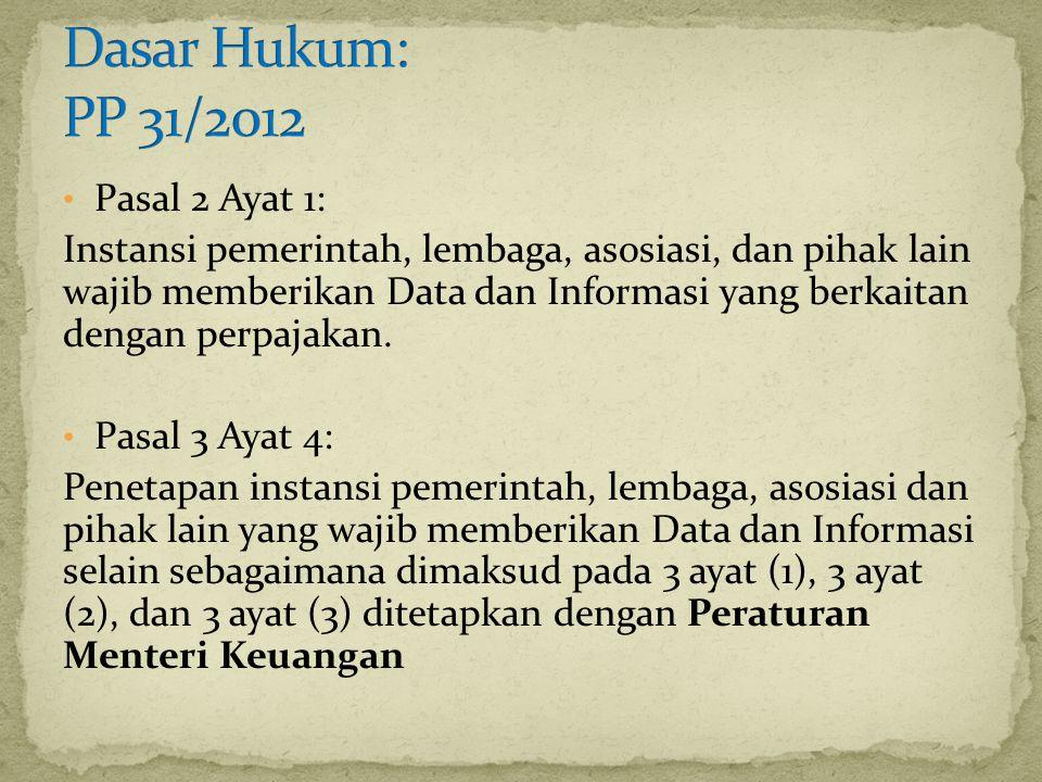 Dasar Hukum: PP 31/2012 Pasal 2 Ayat 1: