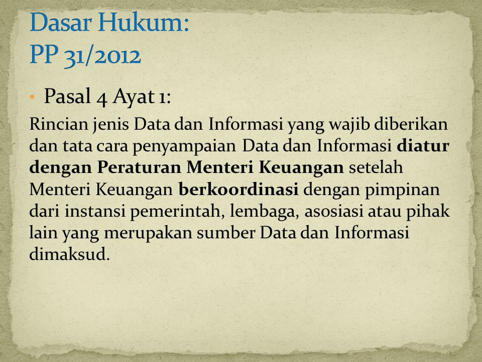Dasar Hukum: PP 31/2012 Pasal 4 Ayat 1:
