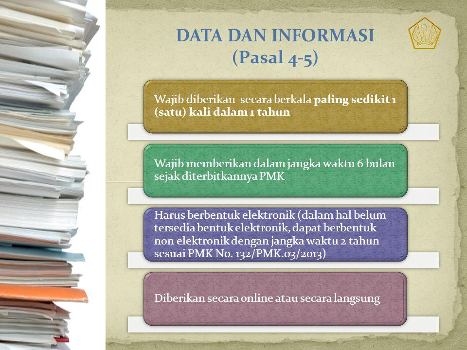 DATA DAN INFORMASI (Pasal 4-5)