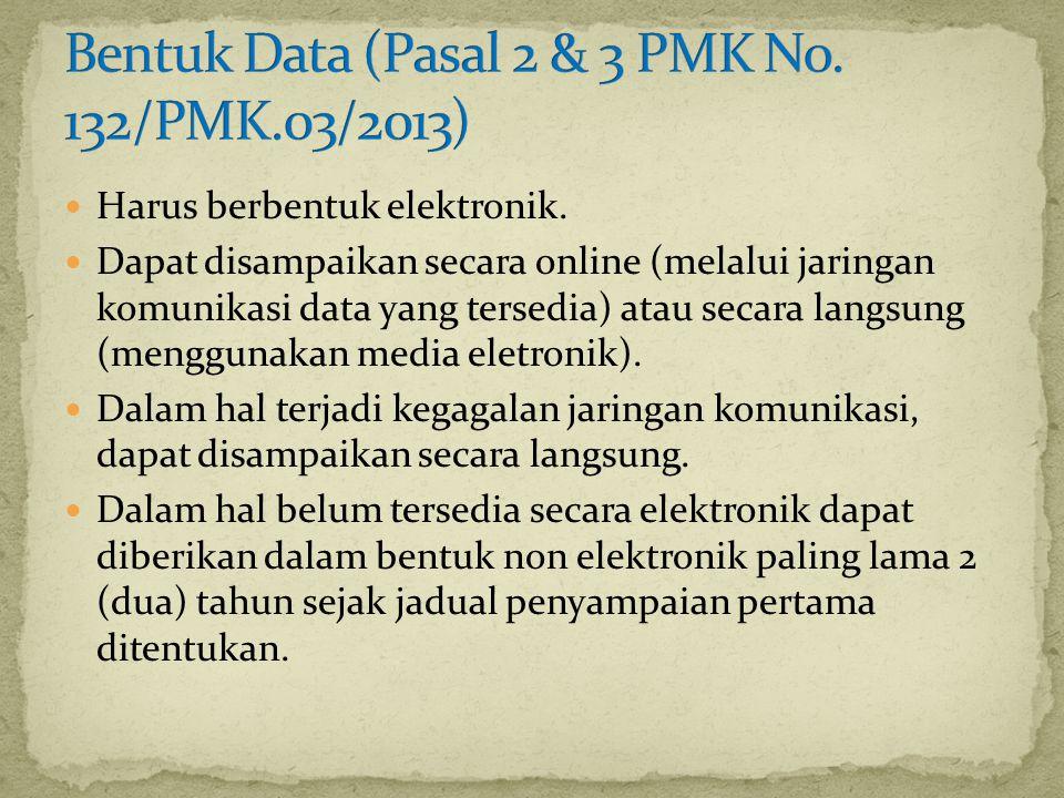 Bentuk Data (Pasal 2 & 3 PMK No. 132/PMK.03/2013)