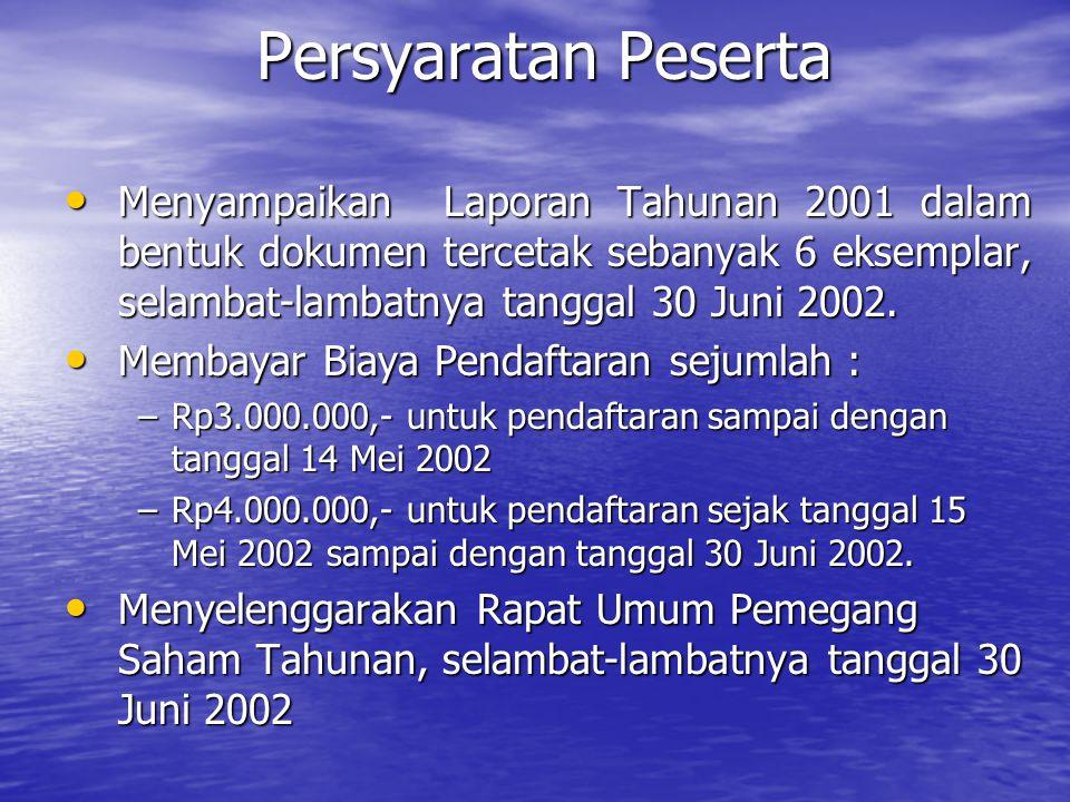 Persyaratan Peserta Menyampaikan Laporan Tahunan 2001 dalam bentuk dokumen tercetak sebanyak 6 eksemplar, selambat-lambatnya tanggal 30 Juni 2002.