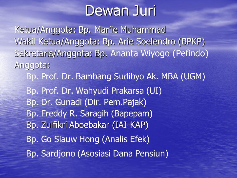 Dewan Juri Ketua/Anggota: Bp. Mar'ie Muhammad