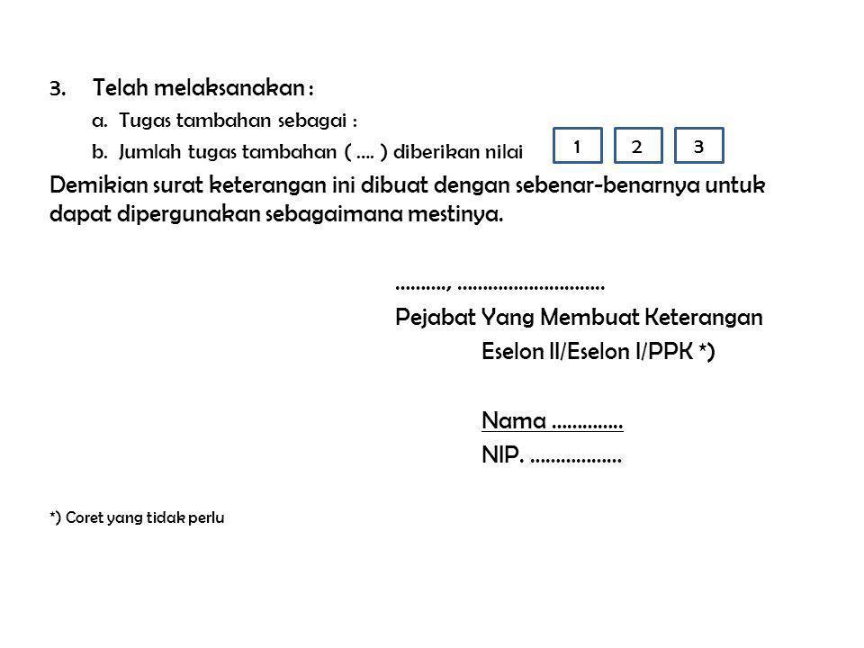 Pejabat Yang Membuat Keterangan Eselon II/Eselon I/PPK *) Nama …………..