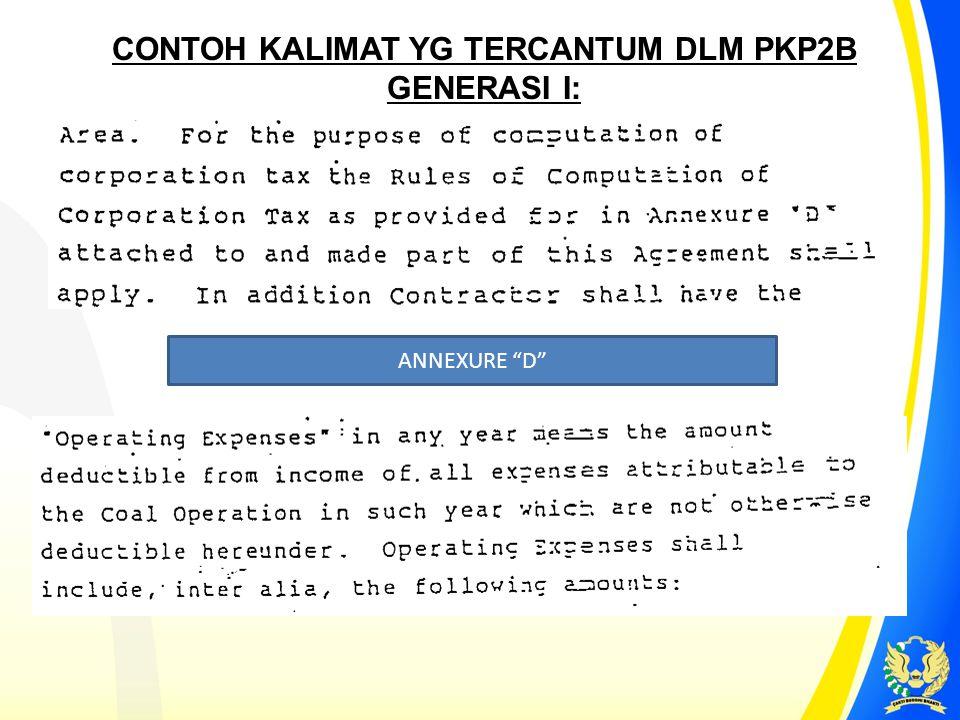 CONTOH KALIMAT YG TERCANTUM DLM PKP2B GENERASI I: