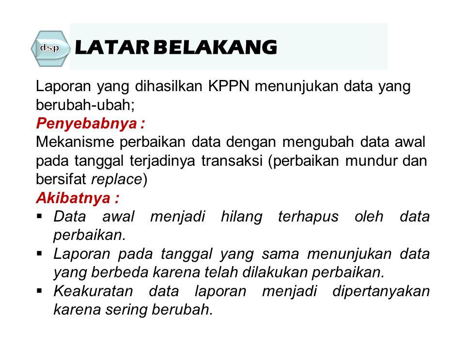 LATAR BELAKANG dsp. Laporan yang dihasilkan KPPN menunjukan data yang berubah-ubah; Penyebabnya :